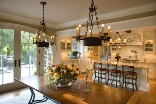 Wall color and light cabinets: Ideas, Kitchens Design, Dreams Kitchens, Traditional Dining Rooms, Lights Fixtures, French Doors, Country Kitchens, House, Open Kitchens