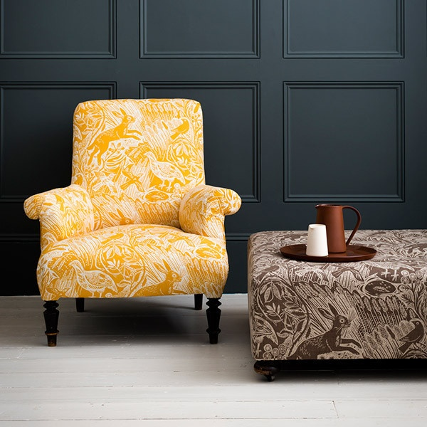 love the shapes with interesting fabrics Yellow Chair - St Judes fabrics
