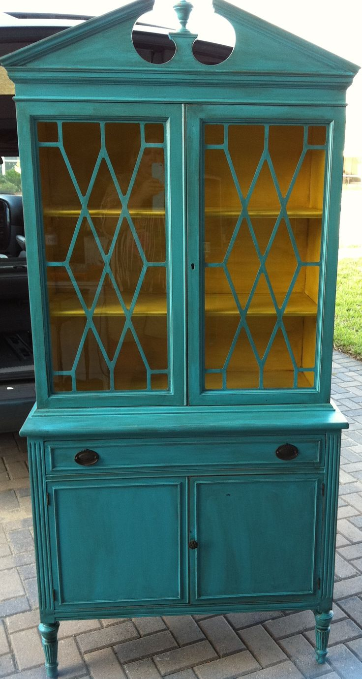 Mermaid Treasure china cabinet with a vibrant yellow inside!