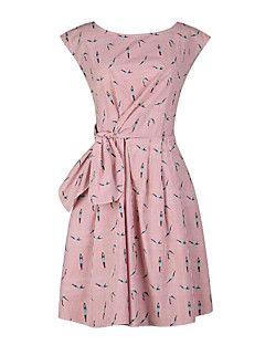 Ledig+Klänning+Vintage+Ledigt/vardag+Kvinnors,Tryck+Rund+hals+Knälång+Ärmlös+Rosa+Polyester+Sommar+–+SEK+Kr.+150