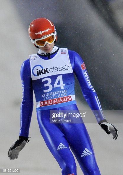 Andreas Wellinger of Germany performs during FIS Men's Worldcup Ski Jumping Day 2 at Skiarena Klingenthal on November 23 2013 in Klingenthal Germany