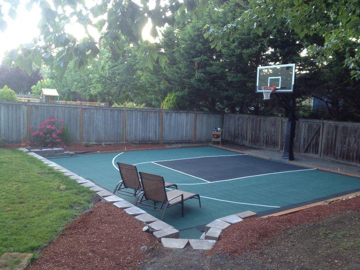 Basketball court diy in my backyard dream come true for Diy sport court