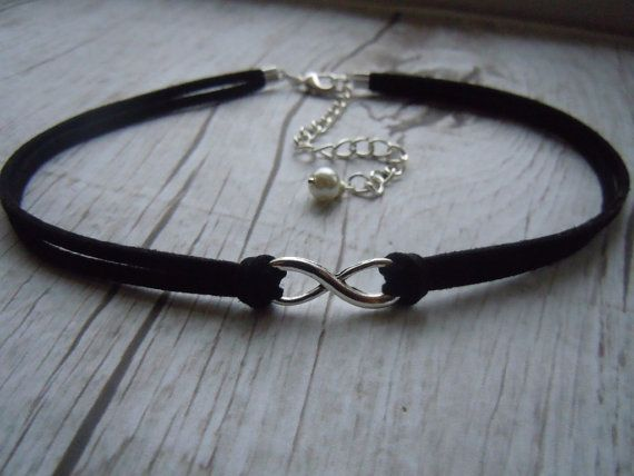 I Must make!!! Infinity Choker Necklace Black Faux Suede  by BohemienneBelle, $9.00