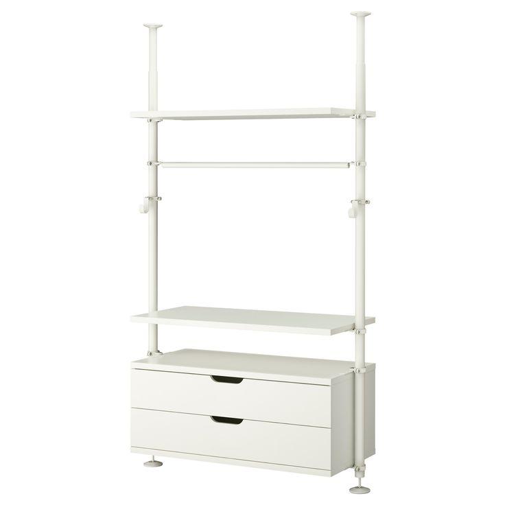 "The Green Room: $270 STOLMEN 1 section - IKEA This option reconfigured - Posts (2), $30/ea, $60 total 43"" Drawer set, $100 43"" Shelves (4), $20 ea, $80 total Hardware, $10/4, $30 total"