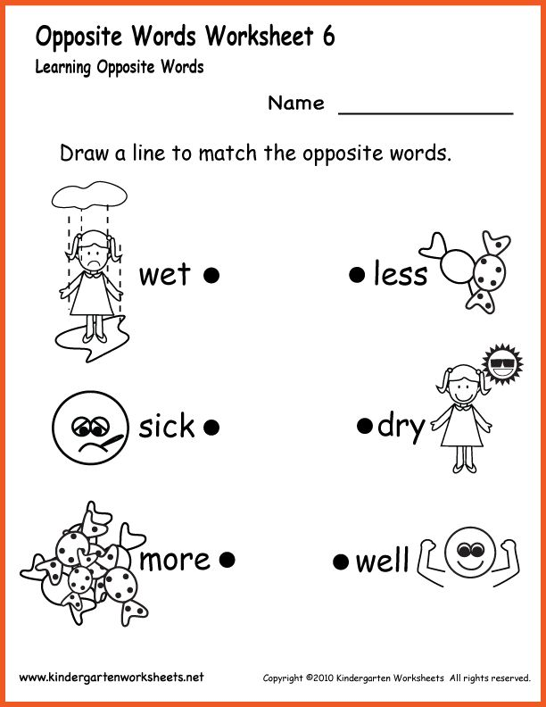 Kindergarten Synonyms Scalien – Antonyms Worksheets for Kindergarten