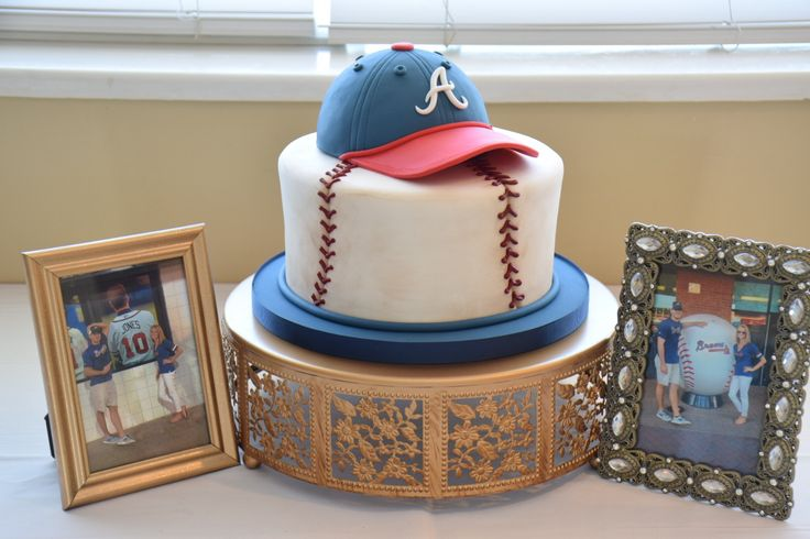 Atlanta Braves Baseball themed grooms cake by K Noelle Cakes