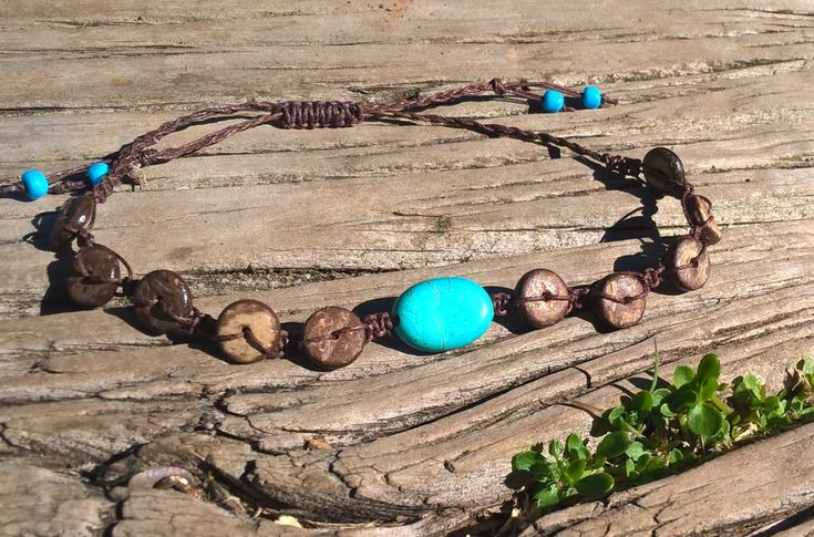Macrame Anklet, Turquoise and Coconut Bead Anklet, Bohemian Anklet and Bracelet Set, Surf Jewelry, Boho Beach Jewelry by AhyokaByBernice on Etsy