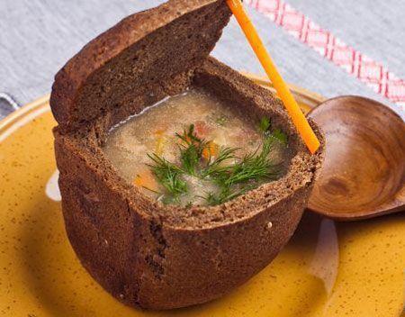 Суп в бородинском хлебе