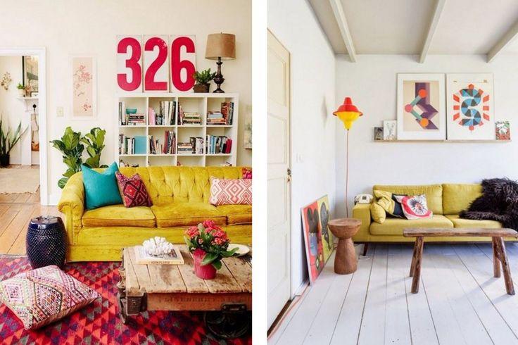 quelle d co pour un salon avec un canap jaune. Black Bedroom Furniture Sets. Home Design Ideas