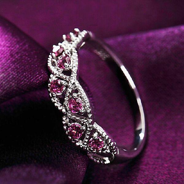 Garnet Eternity Women 925 Sterling Silver Ring January Birthstone Band