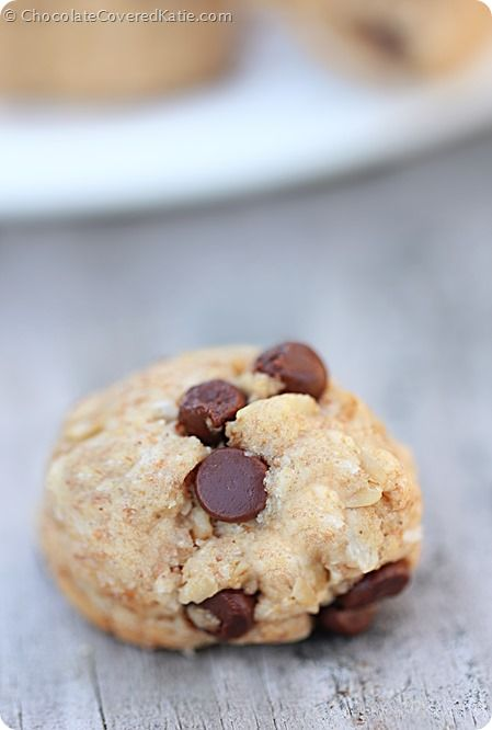 Oatmeal Chocolate Chip Cookie Dough Balls! http://chocolatecoveredkatie.com/2014/06/05/chocolate-chip-oatmeal-cookies/