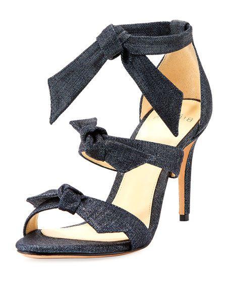 ALEXANDRE BIRMAN Gianna Three-Bow Denim Sandal, Blue. #alexandrebirman #shoes #