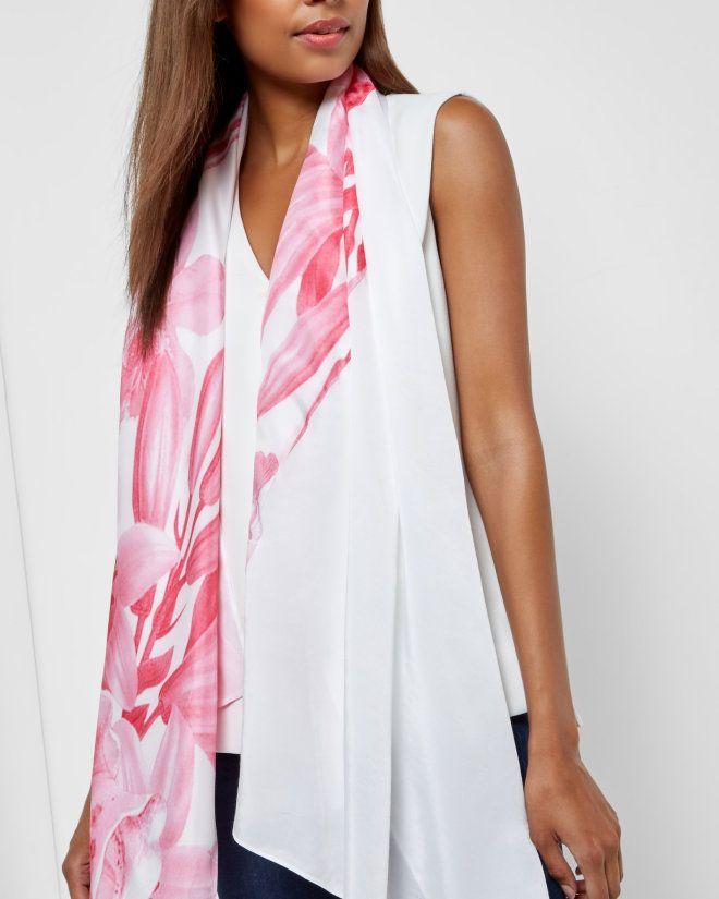 Encyclopaedia Floral print scarf - Nude Pink | Scarves | Ted Baker ROW