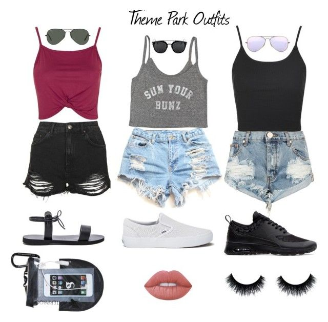 """""""Theme Park Outfits"""" by lulito ❤ liked on Polyvore featuring One Teaspoon, Lime Crime, Isapera, Topshop, Billabong, Vans, Ray-Ban and NIKE"""
