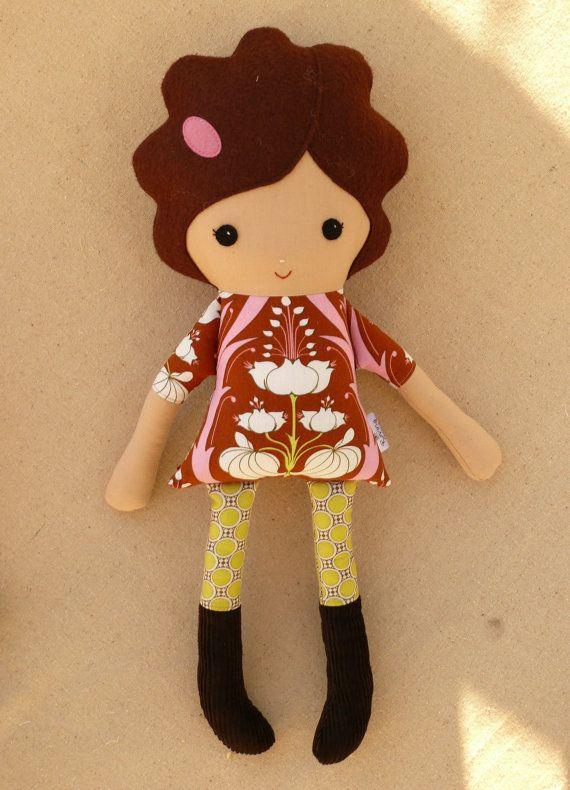 Fabric Doll Rag Doll Girl in Corduroy Boots