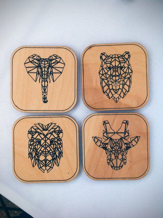 Animal Coasters Set- Set of 4 - Laser Cut Maple Wood - Geometric Animal