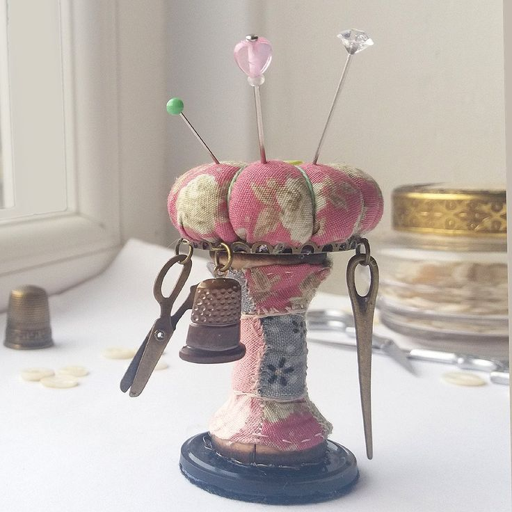 """Roses"" Pincushion Ornament, Sewing Accessory 