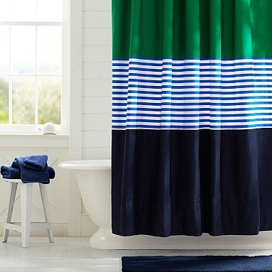 Colorblock Curtain Navy Green