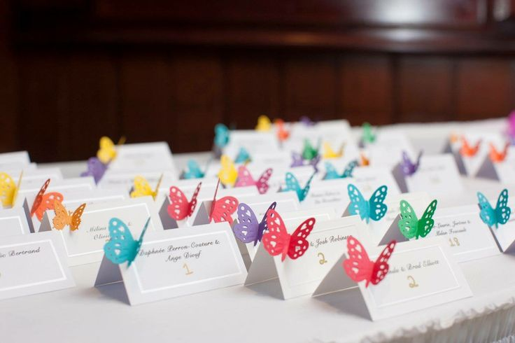 Wedding place cards, rainbow/multicolor/butterfly