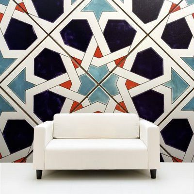 oversize Moroccan tile wall.