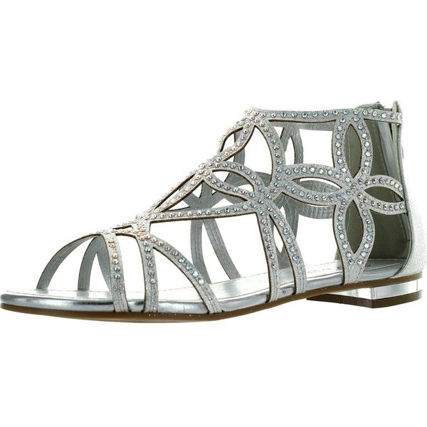 Forever Tory-63 Womens Cut Out Back Zip Flat Sandals Silver 6 ($28) ❤ liked on Polyvore featuring shoes, sandals, wide wedge sandals, flat wedge sandals, wide sandals, silver wedge sandals and silver wedge shoes