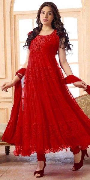 Pretty Red Net Anarkali Suit With Dupatta.