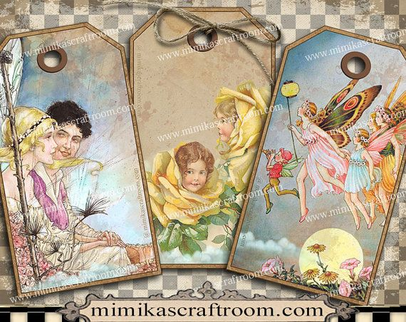 Instant FAIRY digital tags fairies gift tags by mimikascraftroom