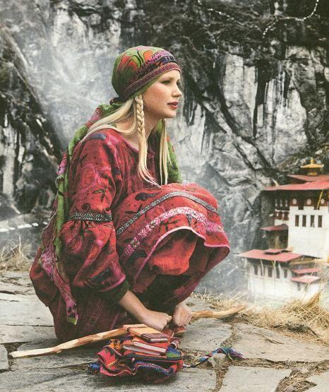 head scarf and boho dress