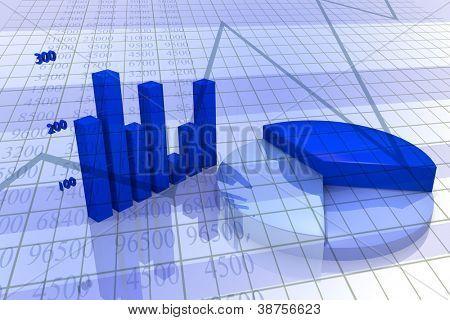 Sfondo con diagramma e grafico, immagine aziendale, con toni di blu