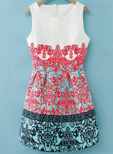 White Sleeveless Red Green Floral Embroidered Dress US$33.00