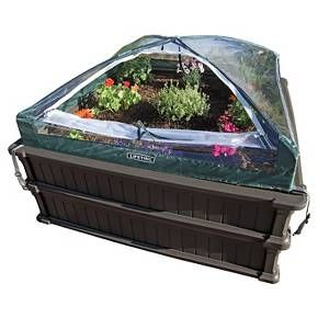 """The 4' x 4' Lifetime Raised Garden Bed features 9"""" high walls, inter-locking assembly, and one early start enclosure (clear vinyl). This model is 8 pieces, making (2) 4' x 4' boxes and comes in brown. Includes a 5-year warranty on the garden beds and 2-year warranty on the enclosure.<br>The 4' x 4' Raised Garden Bed from Lifetime Products gives you the perfect garden setup in less than one hour. It is constructed of UV-protected high-density polyethylene (HD..."""