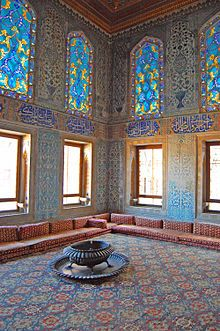 Turkish carpet and interior of the Harem Room Topkapi Palace, Istanbul
