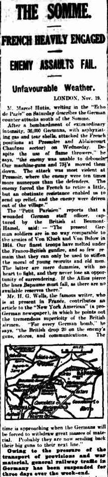 """WWI, 20 Nov 1916; """"H.G. Wells:'For every German bomb, the British drop 20 on the enemy's guns, stores, and communications'."""" -The Argus, Melbourne"""