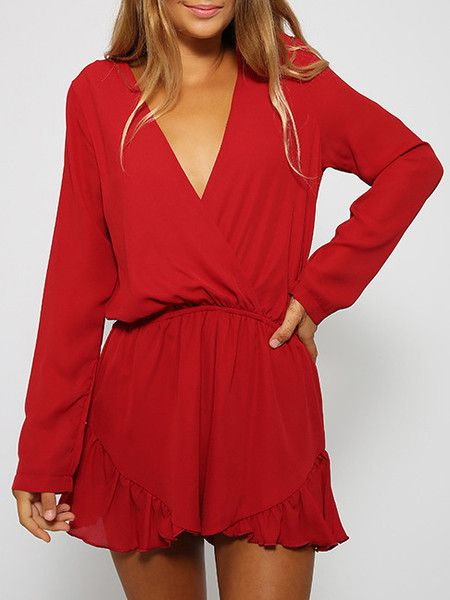 red romper, ruffle playsuit, v neck romper, summer playsuits - Lyfie