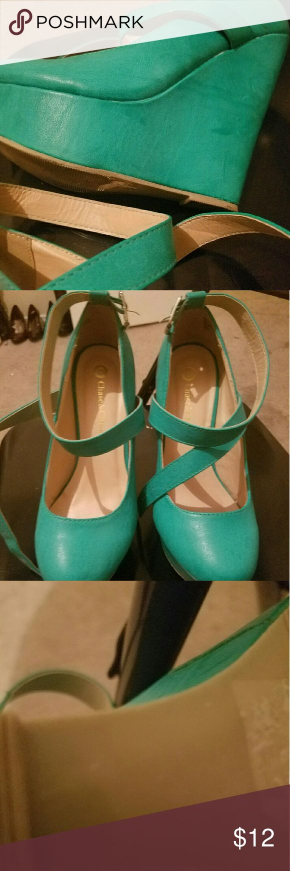 Sea Green strappy wedges Very cute sea green wedge heels size 9 Chase and Chloe Shoes Wedges
