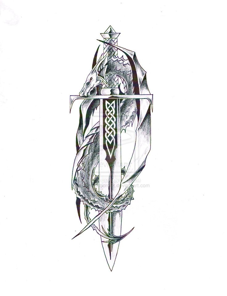 Celtic Sword Shield Tattoo Designs | Dragon with Sword 1 by RevelationInk