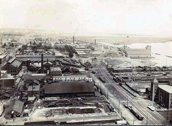 Gooderham and Worts Distillery. What the Distillery District looked like in 1896.