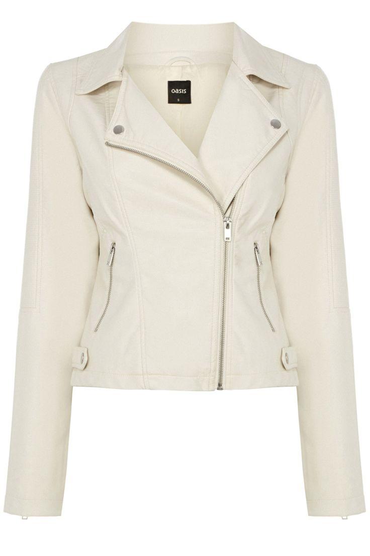 Hannah Faux Leather Biker Jacket | Natural | Oasis Stores
