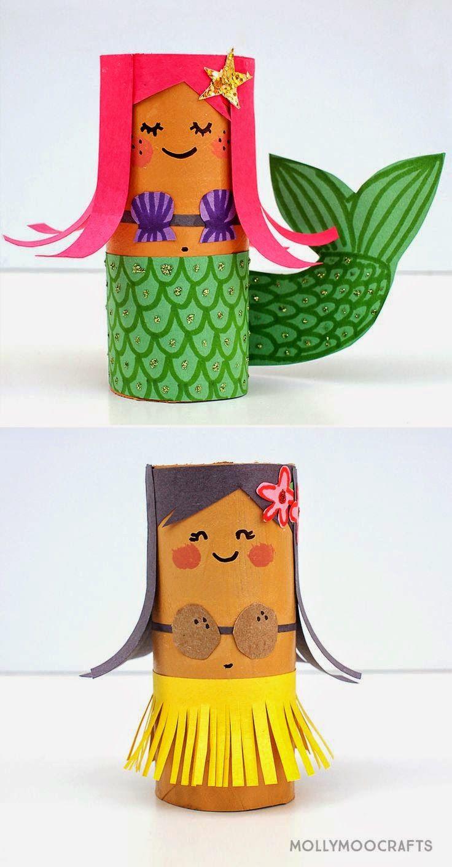 Flowerpower Vase: Toilet Roll Crafts: Hula Girl and Mermaid