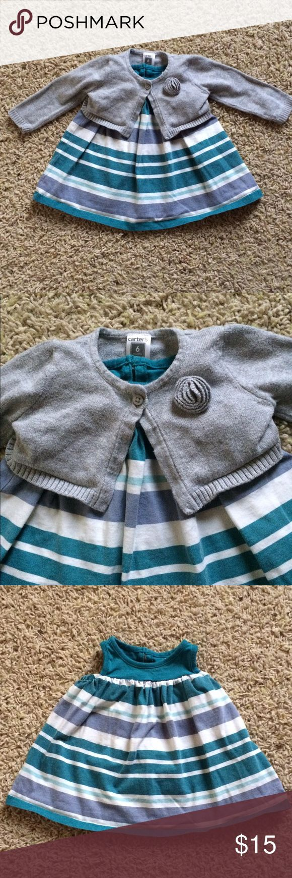 Sweater and Dress Set 3-6 Month Tea Collection blue and teal striped dress and 6 Month Carter's grey sweater. Great used condition, normal wear and wash. Tea Collection Dresses