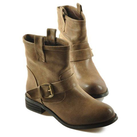 Trendy Buckle and Round Toe Design Women's Boots.   Found on Rosegal.com