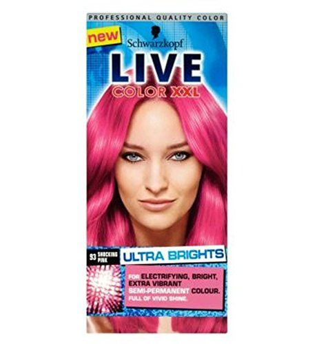 Schwarzkopf Live Color Xxl Ultra Brights 93 Shocking Pink Semi-Permanent Pink Hair Dye - Pack of 2 * Click on the image for additional details. #hairclip