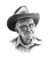 My favorite author - James Michener. Pencil and charcoal sketch by C.P. Vaughan