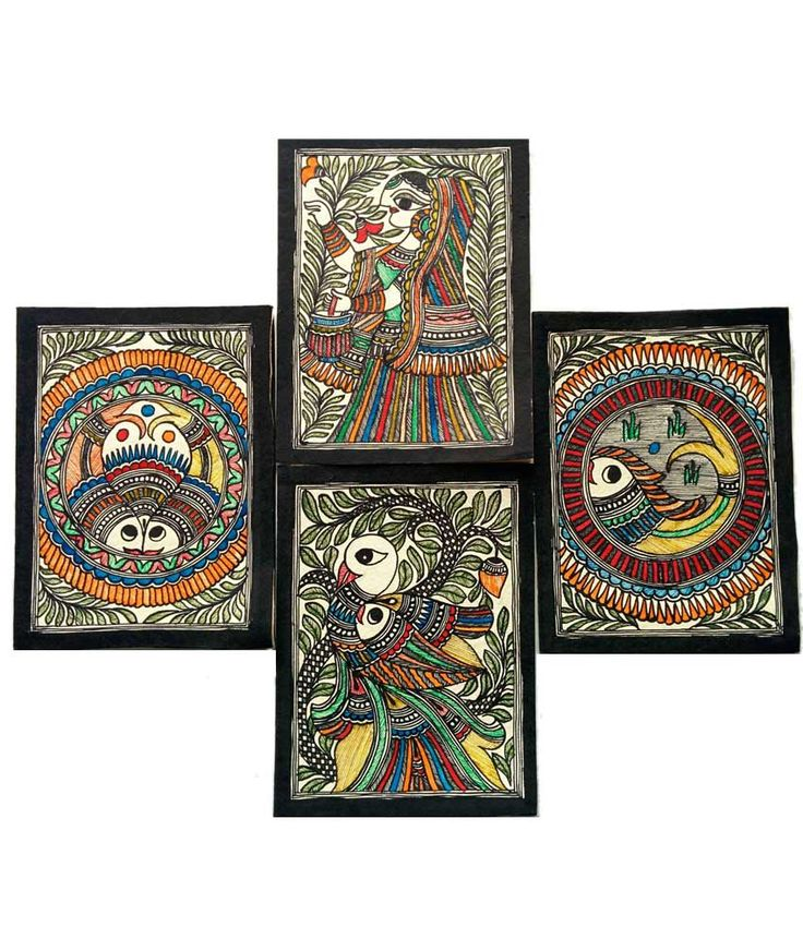 Karukraft Madhubani Greeting Card Set(4 Pieces),handmade Paper,famous Madhubani Colour And Line Painting