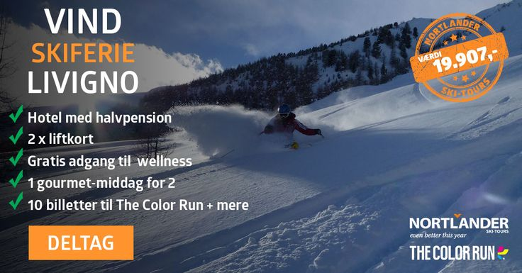 Vind skiferie for 2 personer til Livigno + The Color Run billetter (værdi 19.907kr) Det ville være så monster fedt...