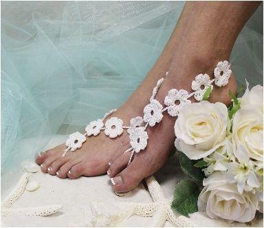 Beyaz Çiçekli Örgü Halhal | Nemoda.com.tr