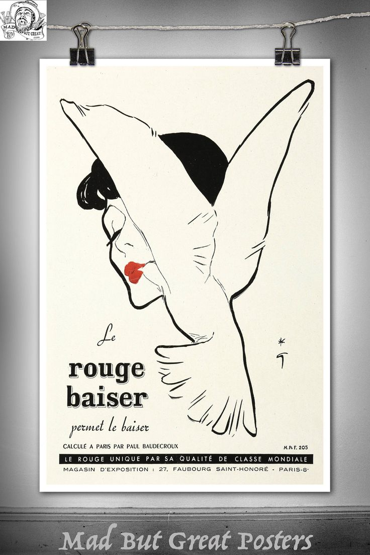 Rene Gruau - Lipstick Illustration - 1949, poster, wall art, home decor, gift, fashion print, french antiques, vogue, art deco, fine print by MadButGreatPosters on Etsy