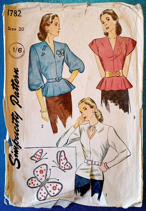 Simplicity 1782 - 1946 blouse with peplum & sequin embroidery