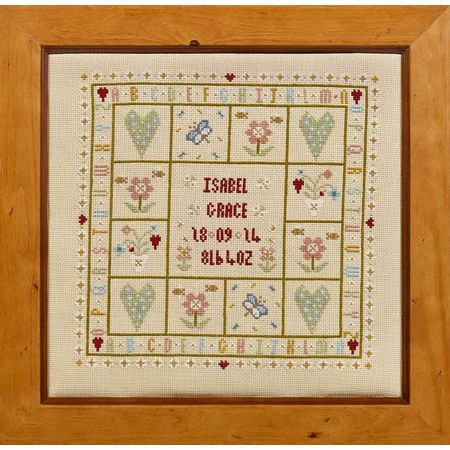Always be reminded of your child's day of birth with this traditionally themed cross stitch kit. Comes complete with flowery details, hearts and butterflies. A wonderful gift to give a friend, family or even yourself!