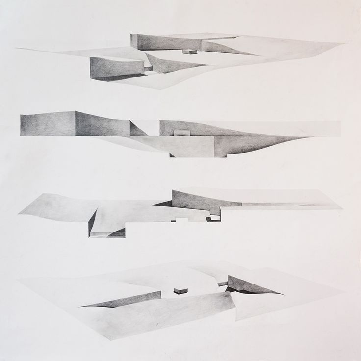 """Drawing ARCHITECTURE: Edward Han Myo Oo, drawing for landscape design, 2014, pencil, 36""""x36""""."""